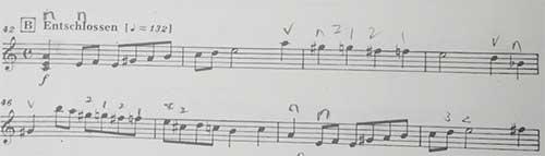マーラー ピアノ四重奏曲1楽章 半音階の指使い